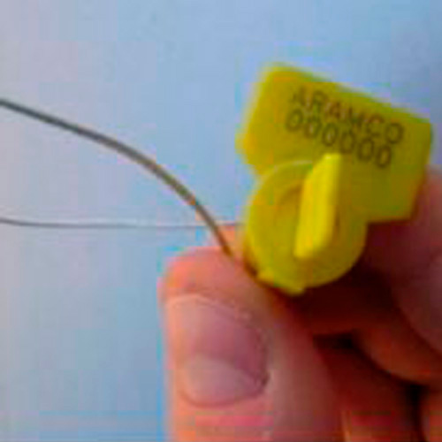 Twist seal-Sello de seguridad de aplicación manual, Marca Leghorn modelo Twist seal, fabricado de plástico transparente con un mecanismo interior de color Amarillo.